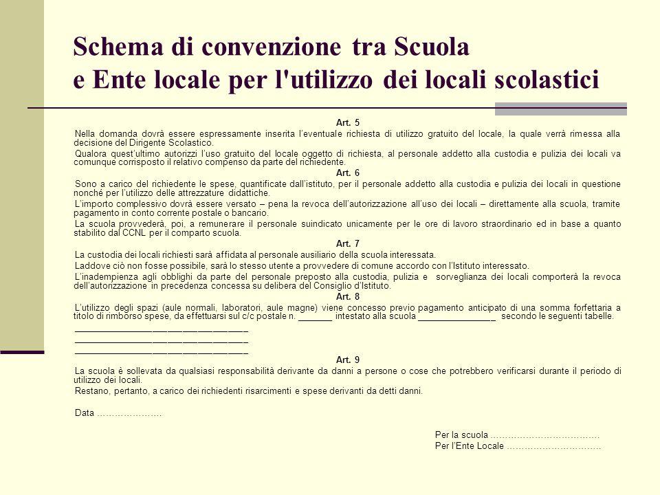 Schema di convenzione tra Scuola e Ente locale per l'utilizzo dei locali scolastici Art. 5 Nella domanda dovrà essere espressamente inserita l'eventua