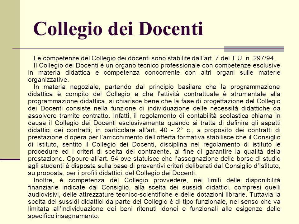 Collegio dei Docenti Le competenze del Collegio dei docenti sono stabilite dall'art. 7 del T.U. n. 297/94. Il Collegio dei Docenti è un organo tecnico