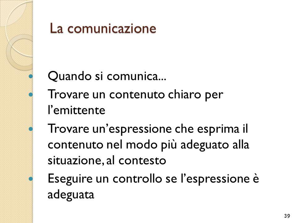 La comunicazione Quando si comunica... Trovare un contenuto chiaro per l'emittente Trovare un'espressione che esprima il contenuto nel modo più adegua