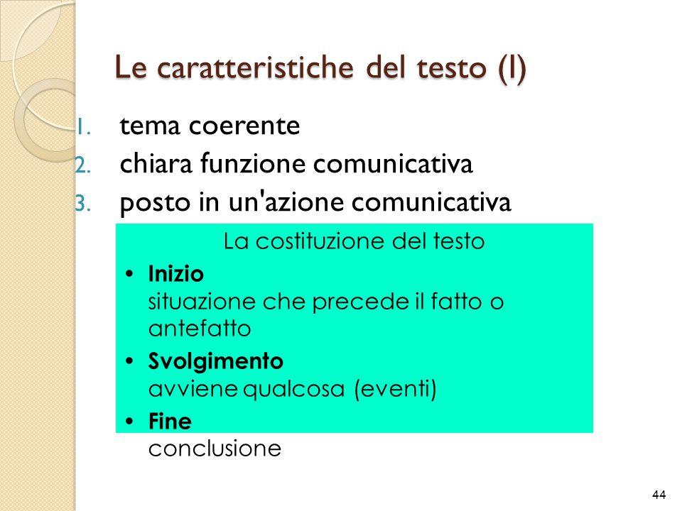 Le caratteristiche del testo (I) 1. tema coerente 2. chiara funzione comunicativa 3. posto in un'azione comunicativa concreta 44 La costituzione del t