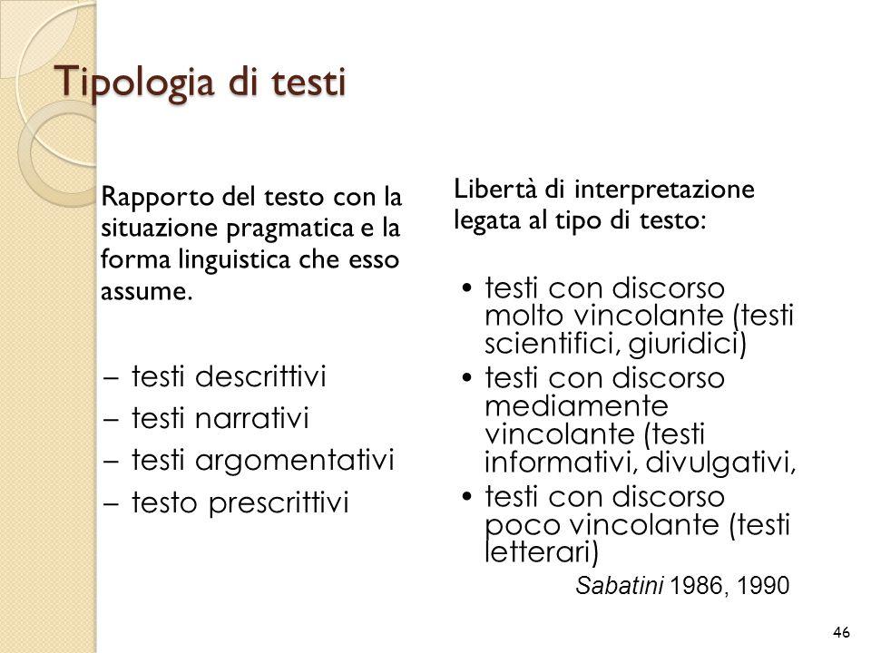 Tipologia di testi Rapporto del testo con la situazione pragmatica e la forma linguistica che esso assume. Libertà di interpretazione legata al tipo d