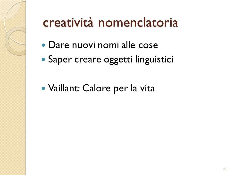 creatività nomenclatoria creatività nomenclatoria Dare nuovi nomi alle cose Saper creare oggetti linguistici Vaillant: Calore per la vita 72