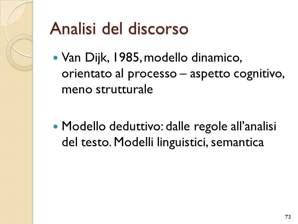 Analisi del discorso Van Dijk, 1985, modello dinamico, orientato al processo – aspetto cognitivo, meno strutturale Modello deduttivo: dalle regole all