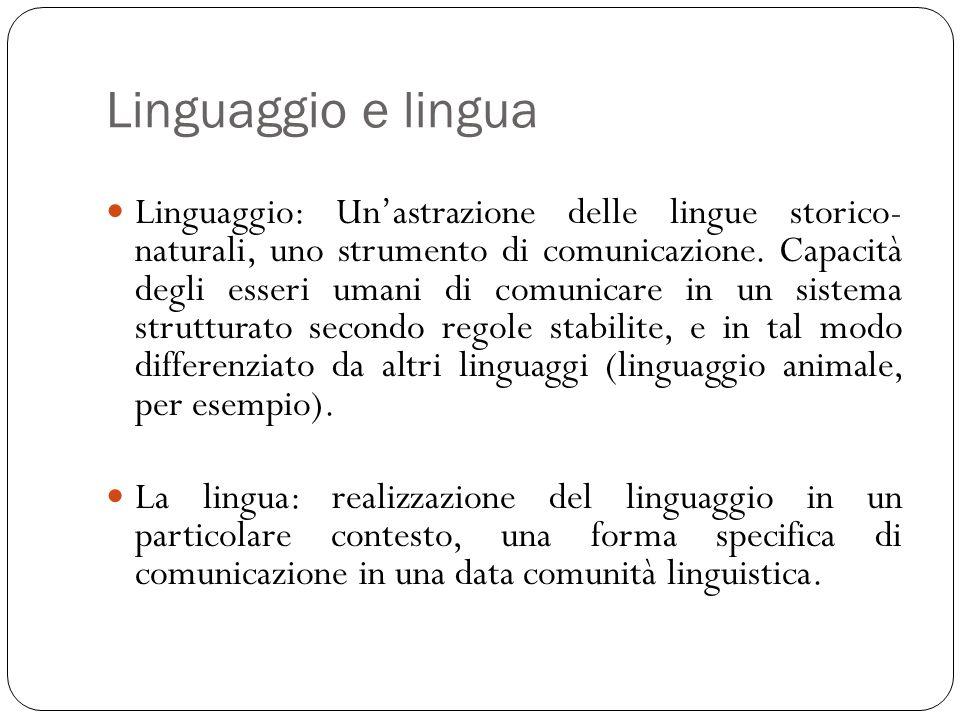 Linguaggio e lingua Linguaggio: Un'astrazione delle lingue storico- naturali, uno strumento di comunicazione. Capacità degli esseri umani di comunicar