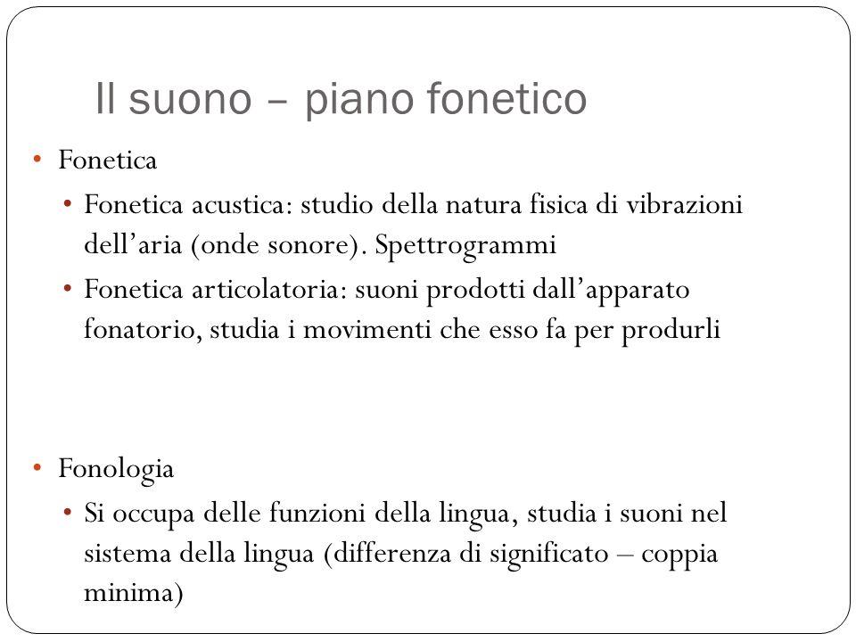 Il suono – piano fonetico Fonetica Fonetica acustica: studio della natura fisica di vibrazioni dell'aria (onde sonore). Spettrogrammi Fonetica articol