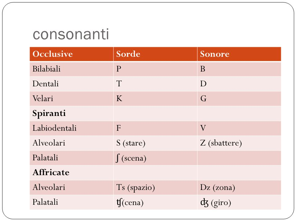 consonanti OcclusiveSordeSonore BilabialiPB DentaliTD VelariKG Spiranti LabiodentaliFV AlveolariS (stare)Z (sbattere) Palatali ʃ (scena) Affricate Alv