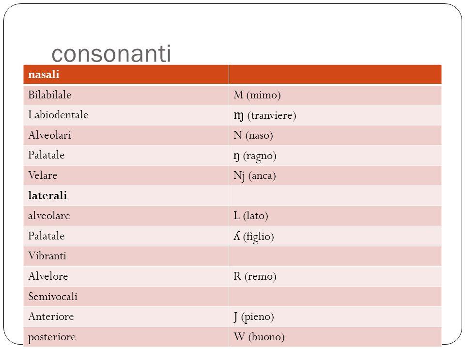 consonanti nasali BilabilaleM (mimo) Labiodentale ɱ (tranviere) AlveolariN (naso) Palatale ŋ (ragno) VelareNj (anca) laterali alveolareL (lato) Palata