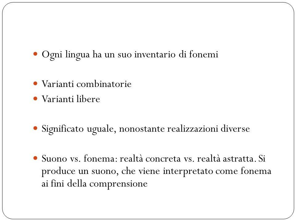 Ogni lingua ha un suo inventario di fonemi Varianti combinatorie Varianti libere Significato uguale, nonostante realizzazioni diverse Suono vs. fonema