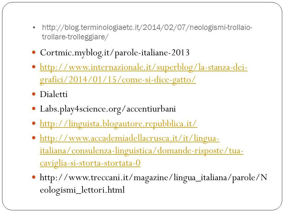 http://blog.terminologiaetc.it/2014/02/07/neologismi-trollaio- trollare-trolleggiare/ Cortmic.myblog.it/parole-italiane-2013 http://www.internazionale