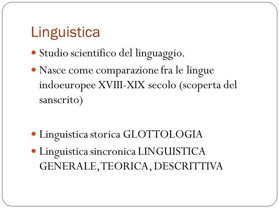 Linguistica Studio scientifico del linguaggio. Nasce come comparazione fra le lingue indoeuropee XVIII-XIX secolo (scoperta del sanscrito) Linguistica