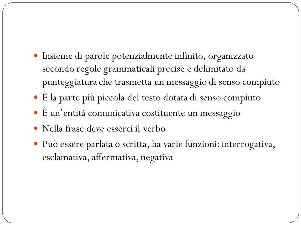 Insieme di parole potenzialmente infinito, organizzato secondo regole grammaticali precise e delimitato da punteggiatura che trasmetta un messaggio di