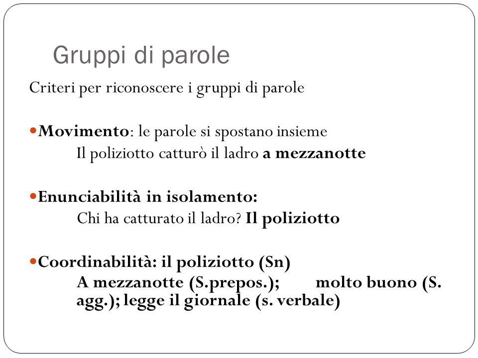 Gruppi di parole Criteri per riconoscere i gruppi di parole Movimento: le parole si spostano insieme Il poliziotto catturò il ladro a mezzanotte Enunc