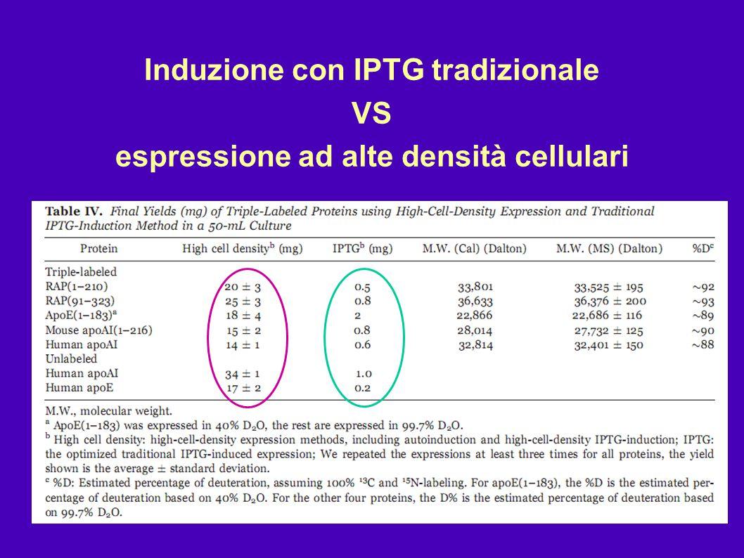 Induzione con IPTG tradizionale VS espressione ad alte densità cellulari
