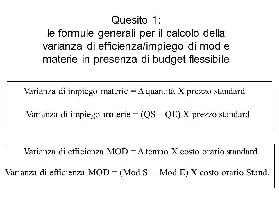 Quesito 1: le formule generali per il calcolo della varianza di efficienza/impiego di mod e materie in presenza di budget flessibile Varianza di impiego materie = Δ quantità X prezzo standard Varianza di impiego materie = (QS – QE) X prezzo standard Varianza di efficienza MOD = Δ tempo X costo orario standard Varianza di efficienza MOD = (Mod S – Mod E) X costo orario Stand.