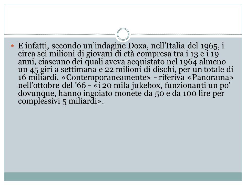 E infatti, secondo un'indagine Doxa, nell'Italia del 1965, i circa sei milioni di giovani di età compresa tra i 13 e i 19 anni, ciascuno dei quali ave