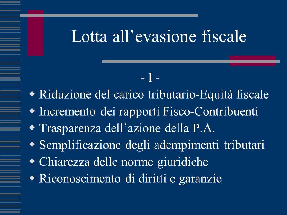 Lotta all'evasione fiscale - I -  Riduzione del carico tributario-Equità fiscale  Incremento dei rapporti Fisco-Contribuenti  Trasparenza dell'azio