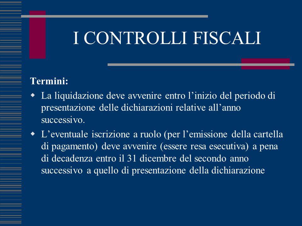 I CONTROLLI FISCALI Termini:  La liquidazione deve avvenire entro l'inizio del periodo di presentazione delle dichiarazioni relative all'anno successivo.