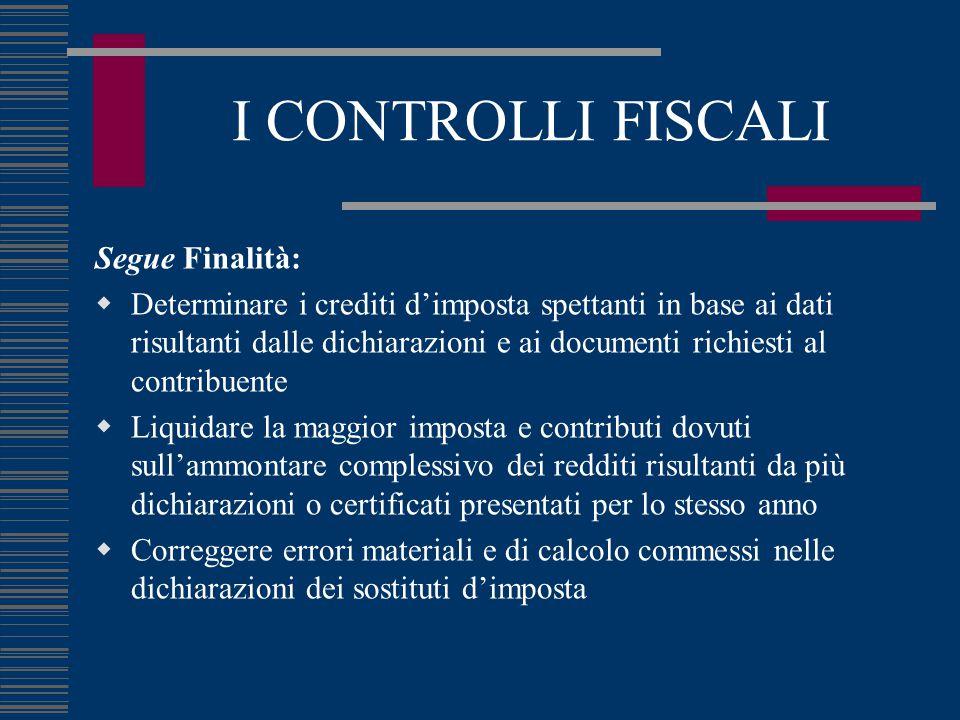 I CONTROLLI FISCALI Segue Finalità:  Determinare i crediti d'imposta spettanti in base ai dati risultanti dalle dichiarazioni e ai documenti richiest