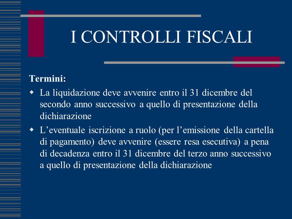 I CONTROLLI FISCALI Termini:  La liquidazione deve avvenire entro il 31 dicembre del secondo anno successivo a quello di presentazione della dichiara