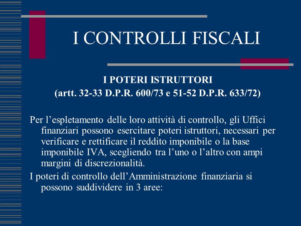 I CONTROLLI FISCALI I POTERI ISTRUTTORI (artt. 32-33 D.P.R. 600/73 e 51-52 D.P.R. 633/72) Per l'espletamento delle loro attività di controllo, gli Uff