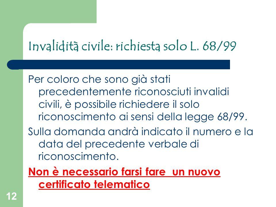 12 Invalidità civile: richiesta solo L. 68/99 Per coloro che sono già stati precedentemente riconosciuti invalidi civili, è possibile richiedere il so