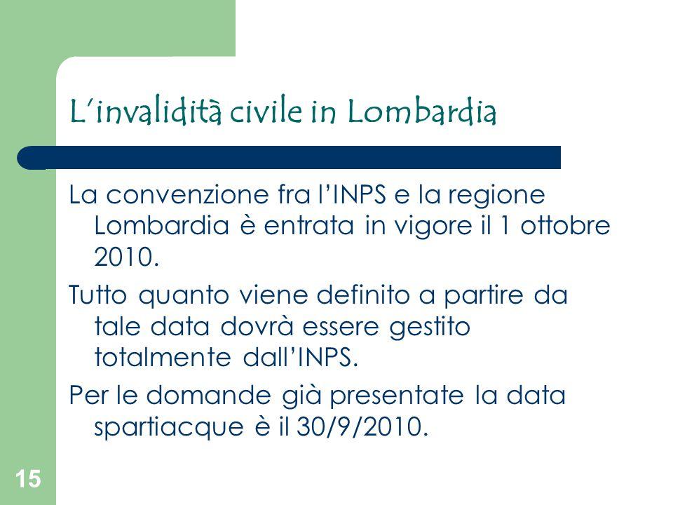 15 L'invalidità civile in Lombardia La convenzione fra l'INPS e la regione Lombardia è entrata in vigore il 1 ottobre 2010. Tutto quanto viene definit