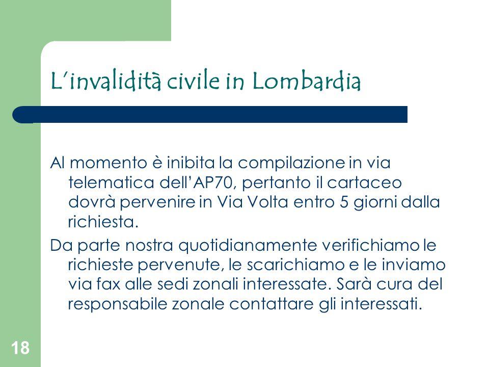 18 L'invalidità civile in Lombardia Al momento è inibita la compilazione in via telematica dell'AP70, pertanto il cartaceo dovrà pervenire in Via Volt