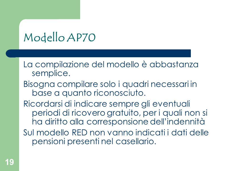19 Modello AP70 La compilazione del modello è abbastanza semplice. Bisogna compilare solo i quadri necessari in base a quanto riconosciuto. Ricordarsi