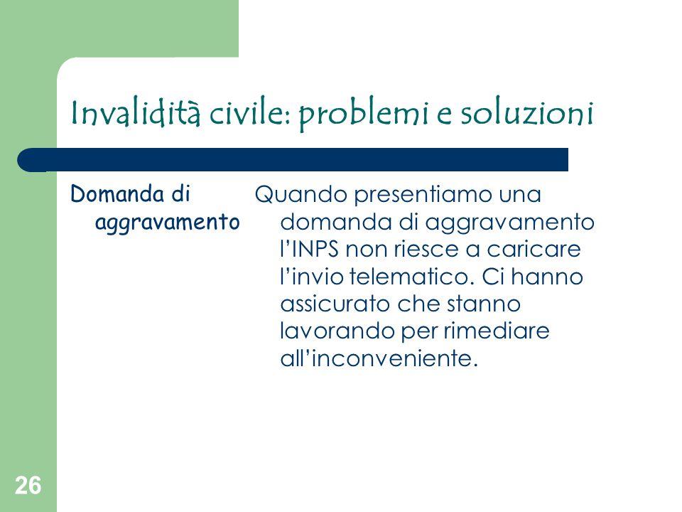 26 Invalidità civile: problemi e soluzioni Domanda di aggravamento Quando presentiamo una domanda di aggravamento l'INPS non riesce a caricare l'invio