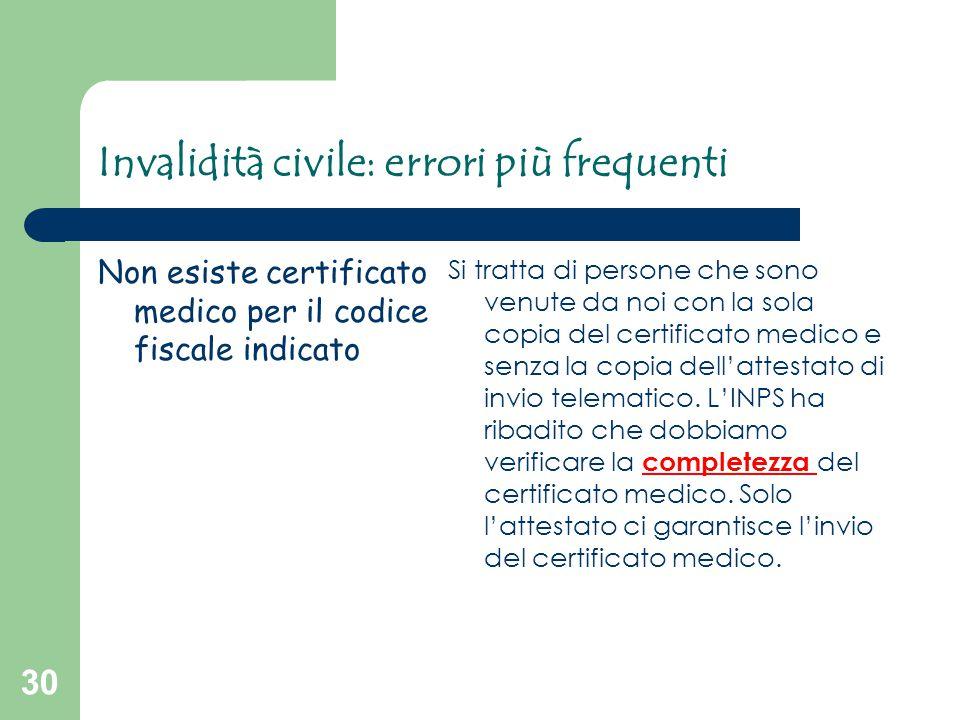 30 Invalidità civile: errori più frequenti Non esiste certificato medico per il codice fiscale indicato Si tratta di persone che sono venute da noi co