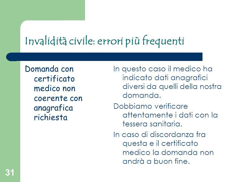 31 Invalidità civile: errori più frequenti Domanda con certificato medico non coerente con anagrafica richiesta In questo caso il medico ha indicato d