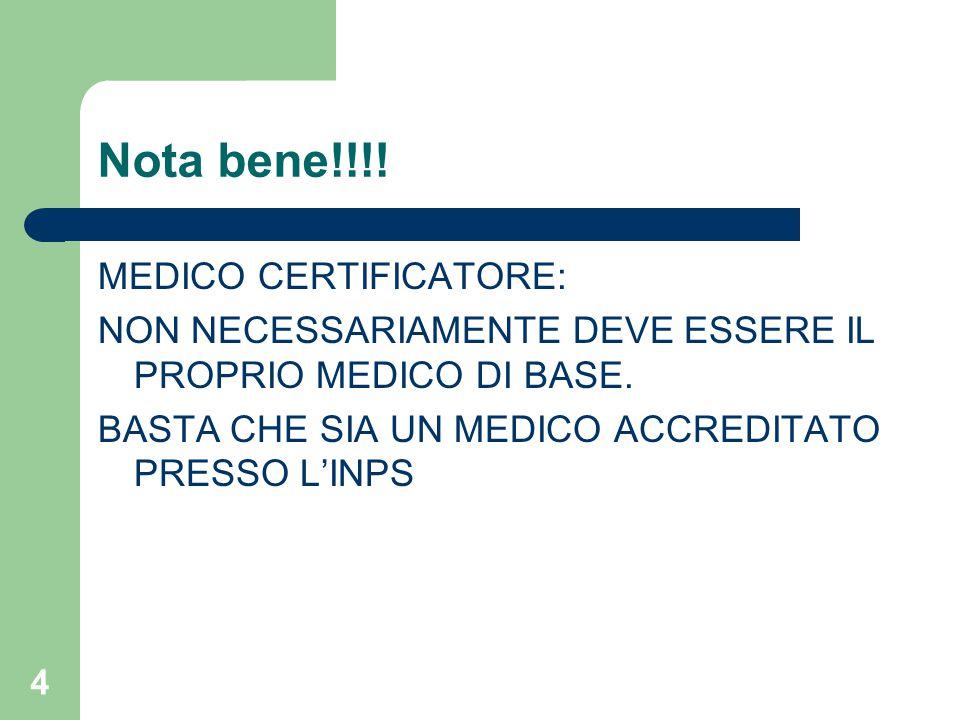 4 Nota bene!!!! MEDICO CERTIFICATORE: NON NECESSARIAMENTE DEVE ESSERE IL PROPRIO MEDICO DI BASE. BASTA CHE SIA UN MEDICO ACCREDITATO PRESSO L'INPS