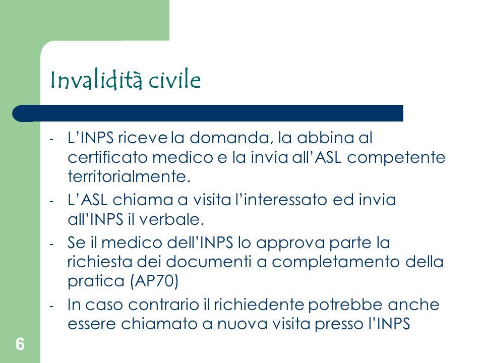 6 Invalidità civile - L'INPS riceve la domanda, la abbina al certificato medico e la invia all'ASL competente territorialmente. - L'ASL chiama a visit