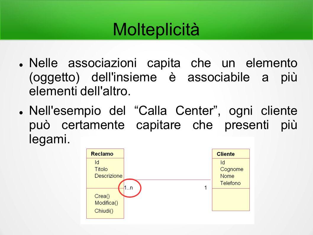 """Molteplicità Nelle associazioni capita che un elemento (oggetto) dell'insieme è associabile a più elementi dell'altro. Nell'esempio del """"Calla Center"""""""