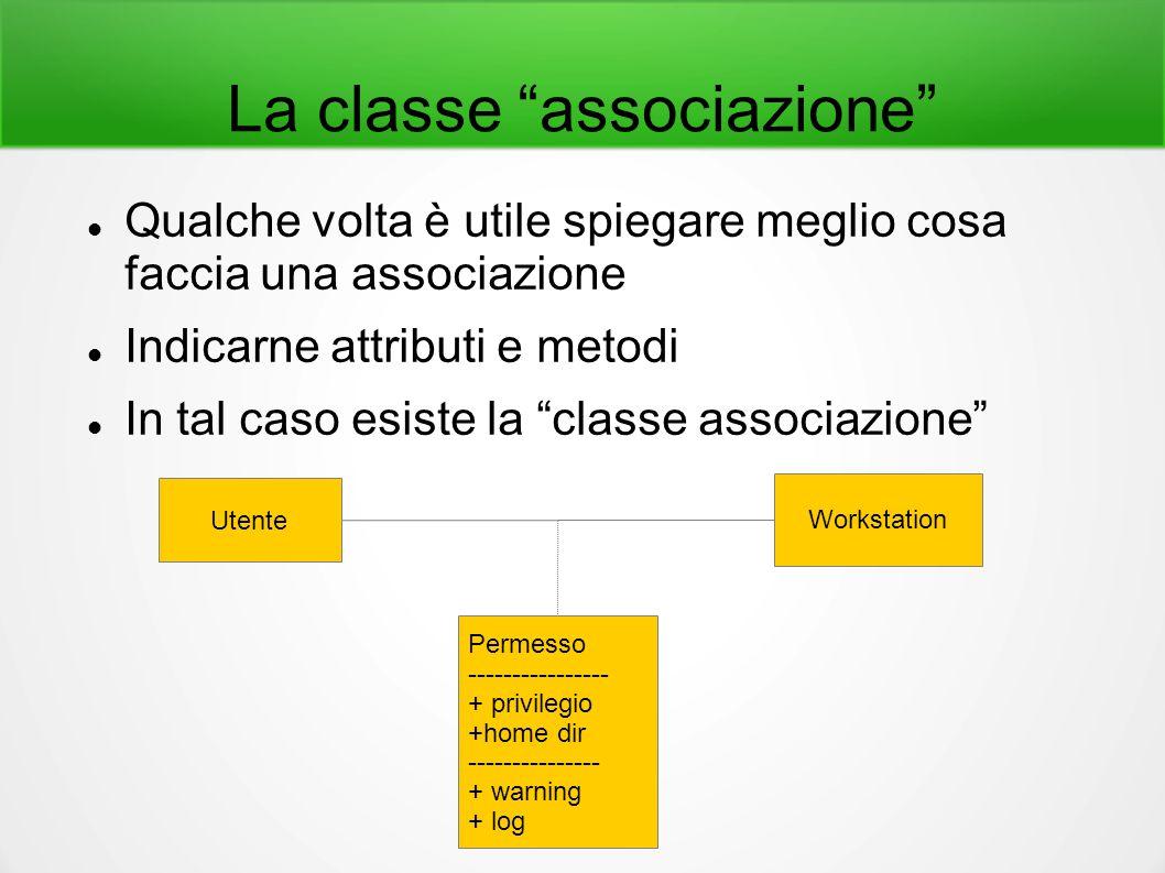 """La classe """"associazione"""" Qualche volta è utile spiegare meglio cosa faccia una associazione Indicarne attributi e metodi In tal caso esiste la """"classe"""