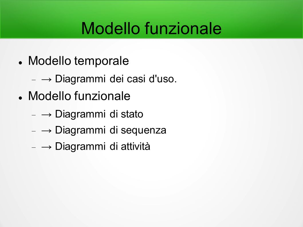 Modello funzionale Modello temporale  → Diagrammi dei casi d'uso. Modello funzionale  → Diagrammi di stato  → Diagrammi di sequenza  → Diagrammi d