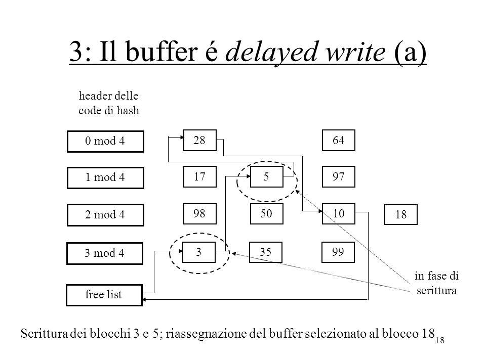 18 3: Il buffer é delayed write (a) 28 18 64 0 mod 4 17597 1 mod 4 985010 2 mod 4 33599 3 mod 4 free list header delle code di hash Scrittura dei blocchi 3 e 5; riassegnazione del buffer selezionato al blocco 18 in fase di scrittura