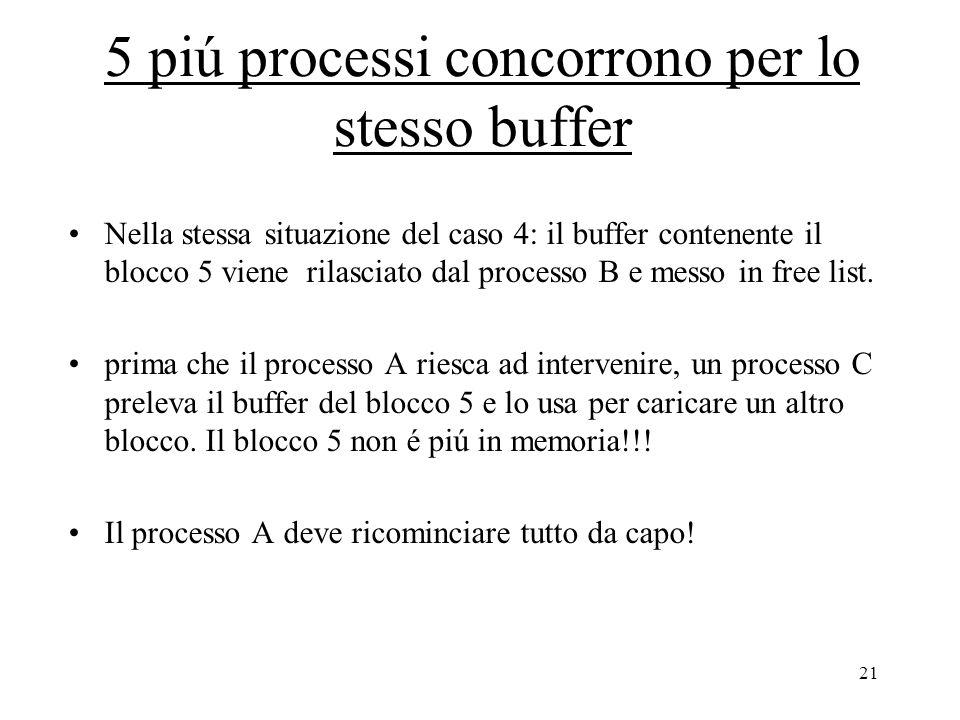 21 5 piú processi concorrono per lo stesso buffer Nella stessa situazione del caso 4: il buffer contenente il blocco 5 viene rilasciato dal processo B e messo in free list.