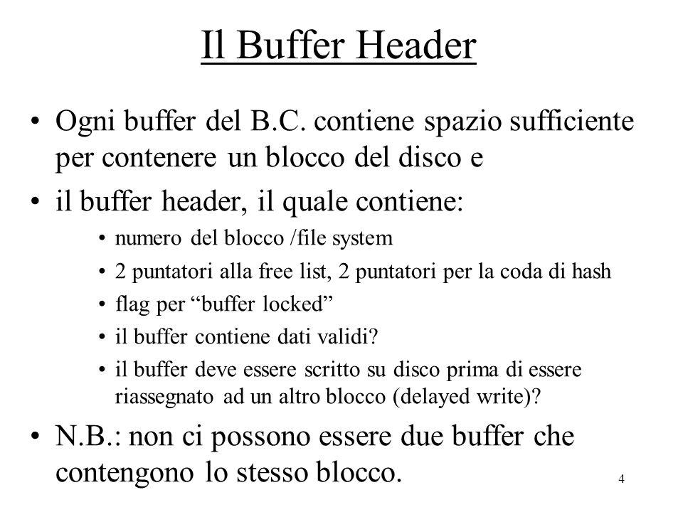 4 Il Buffer Header Ogni buffer del B.C.