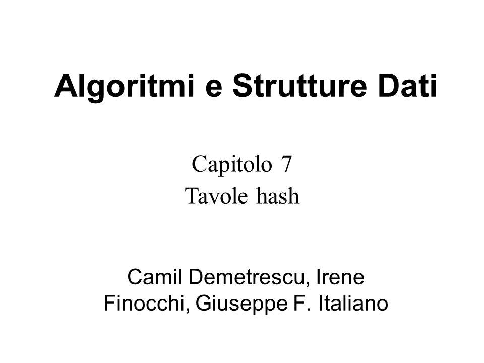 Capitolo 7 Tavole hash Algoritmi e Strutture Dati Camil Demetrescu, Irene Finocchi, Giuseppe F.