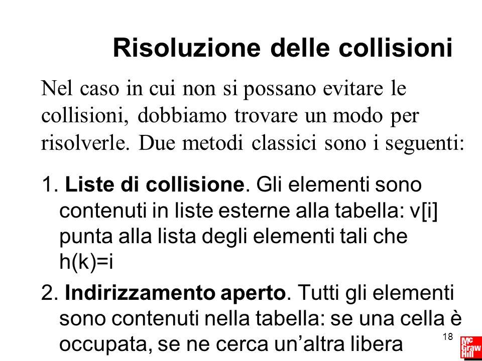 18 Risoluzione delle collisioni 1. Liste di collisione.