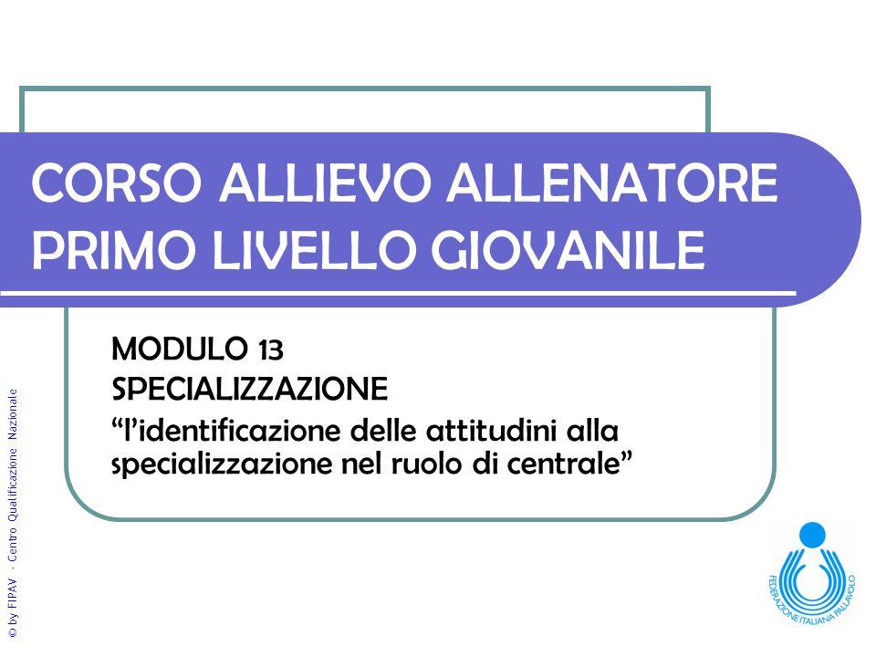 """© by FIPAV - Centro Qualificazione Nazionale CORSO ALLIEVO ALLENATORE PRIMO LIVELLO GIOVANILE MODULO 13 SPECIALIZZAZIONE """"l'identificazione delle atti"""