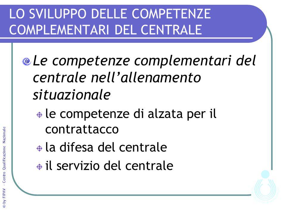 © by FIPAV - Centro Qualificazione Nazionale LO SVILUPPO DELLE COMPETENZE COMPLEMENTARI DEL CENTRALE Le competenze complementari del centrale nell'all