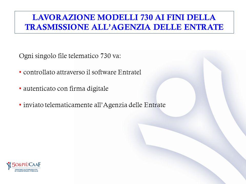 Ogni singolo file telematico 730 va: controllato attraverso il software Entratel autenticato con firma digitale inviato telematicamente all'Agenzia de