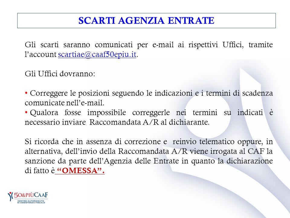 Gli scarti saranno comunicati per e-mail ai rispettivi Uffici, tramite l'account scartiae@caaf50epiu.it.scartiae@caaf50epiu.it Gli Uffici dovranno: Co