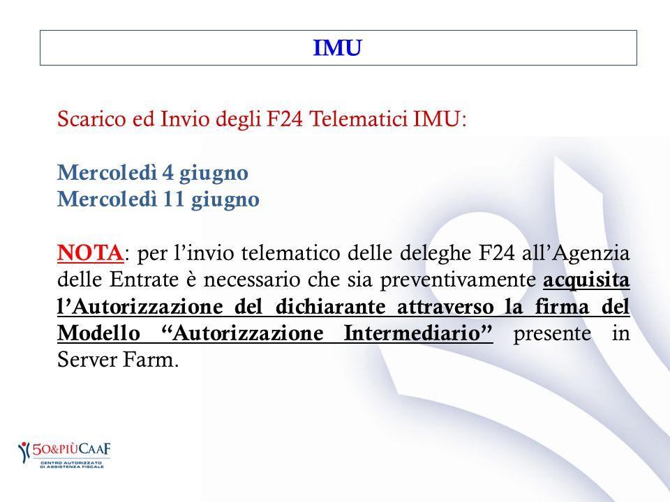 Scarico ed Invio degli F24 Telematici IMU: Mercoledì 4 giugno Mercoledì 11 giugno NOTA : per l'invio telematico delle deleghe F24 all'Agenzia delle En