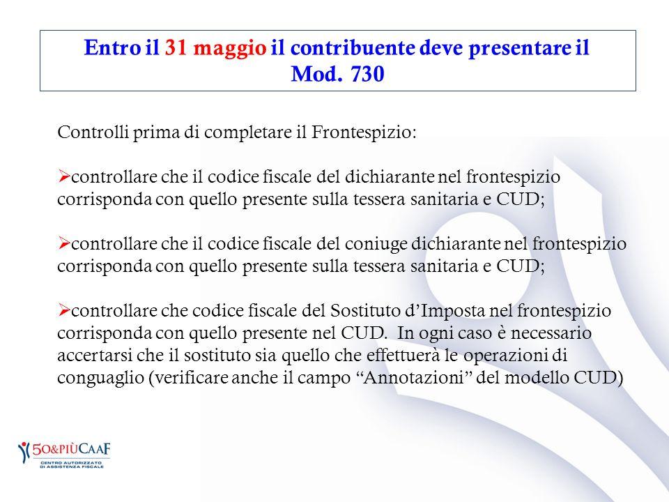 Controlli prima di completare il Frontespizio:  controllare che il codice fiscale del dichiarante nel frontespizio corrisponda con quello presente su