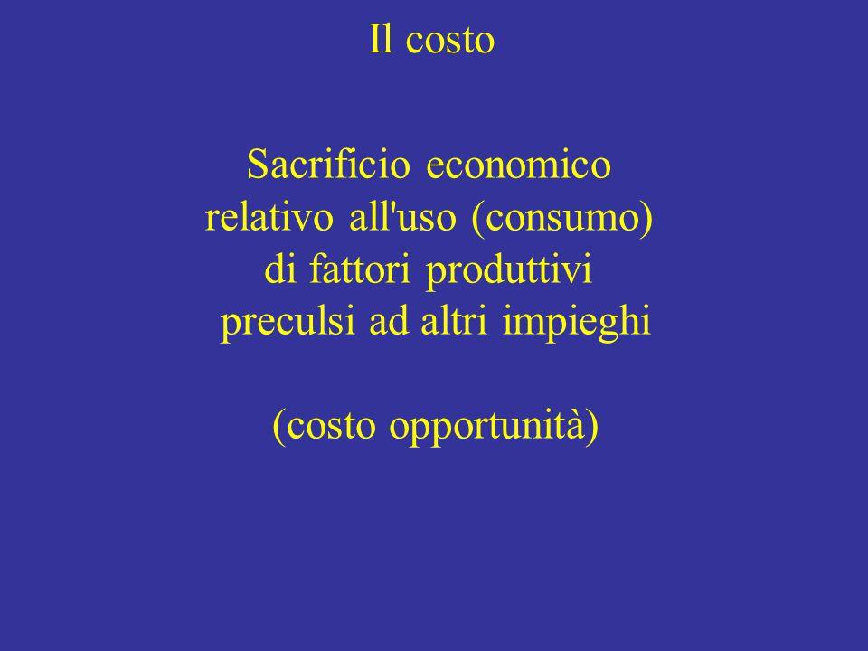 Il costo Sacrificio economico relativo all uso (consumo) di fattori produttivi preculsi ad altri impieghi (costo opportunità)