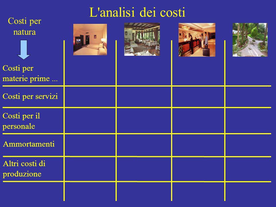 L analisi dei costi Costi per natura Costi per materie prime...