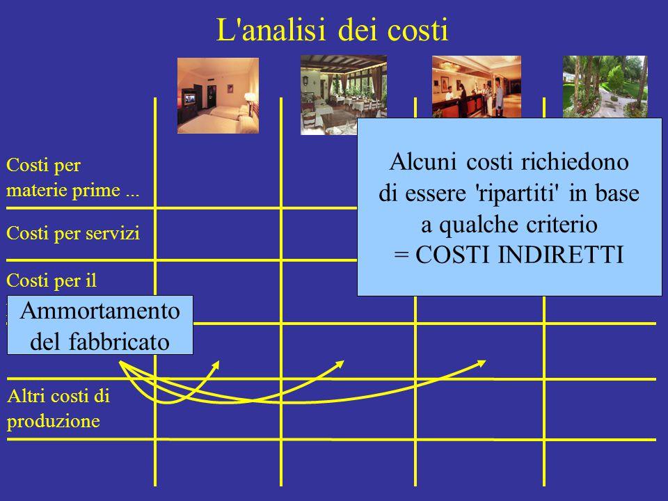 L'analisi dei costi Costi per materie prime... Costi per servizi Costi per il personale Ammortamenti Altri costi di produzione Alcuni costi richiedono